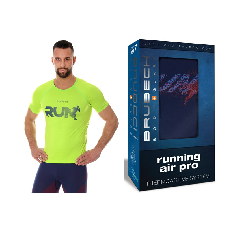 Cienka Koszulka biegowa Brubeck Running neonowa