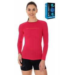 Koszulka damska sportowa Brubeck LS13140 malinowa