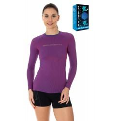 Koszulka damska sportowa Brubeck LS13140 purpurowa