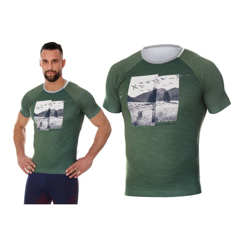 Męska koszulka do biegania Brubeck City Air zielona