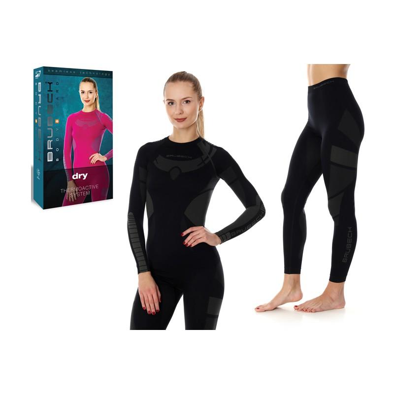 Odzież termoaktywna damska Outdoor Brubeck DRY czarny komplet