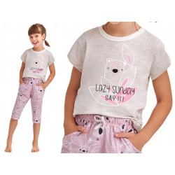 Taro Beki bawełniana piżamka dla dziewczynki szara