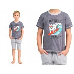 Piżama dla chłopca z mega bawełny Taro Alan szara